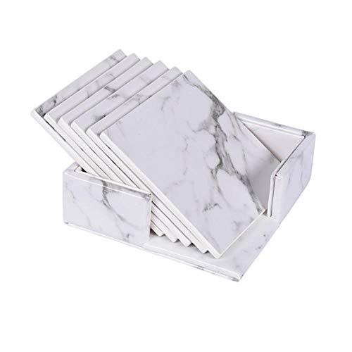 FORHOME Creatieve PU Leer Marmeren Coasters Drink Koffie Cup Theemat Eettafel Tafelkleed Tafel Zwart Wit Decor Chic 6 Stuks White Square