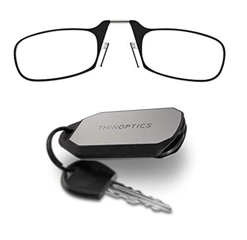 ThinOptics-Lesebrillen als Schlüsselanhänger. Schwarzer Rahmen, Stärke 2,50