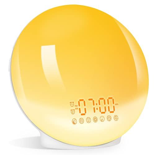 Eveil Lumière LED Réveil Lumineux Lampe de Chevet 20...