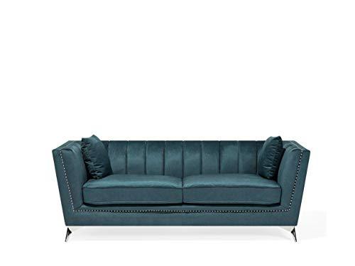 Beliani Sofa aus Samtstoff Blau-Grün 3-Sitzer modernes Wohnzimmer-Sofa Gaula