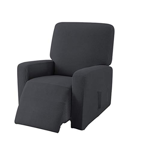 E EBETA Jacquard Sesselbezug, Sesselschoner, Stretchhusse für Relaxsessel Komplett, Elastisch Bezug für Fernsehsessel Liege Sessel (Dunkelgrau)