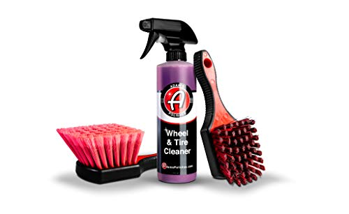Adam's Wheel & Tire Cleaner Combo - Professional All in One Tire & Wheel Cleaner W/Wheel Brush & Tire Brush   Car Wash Wheel Cleaning Kit for Car Detailing   Safe On Most Rim Finishes