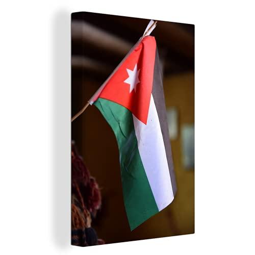Leinwandbild - Hängende Flagge von Jordanien - 40x60 cm