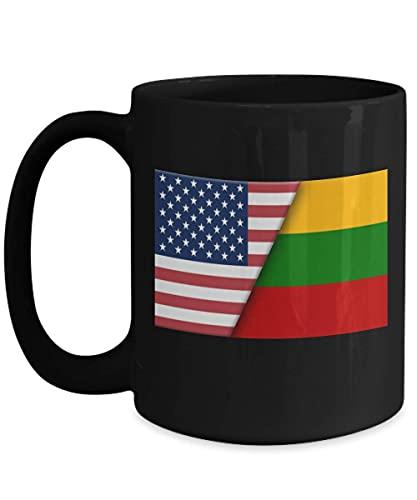 USA Litauen litauische Flagge 11oz schwarze Kaffeetasse Einwanderer Doppelbürger Geschenk