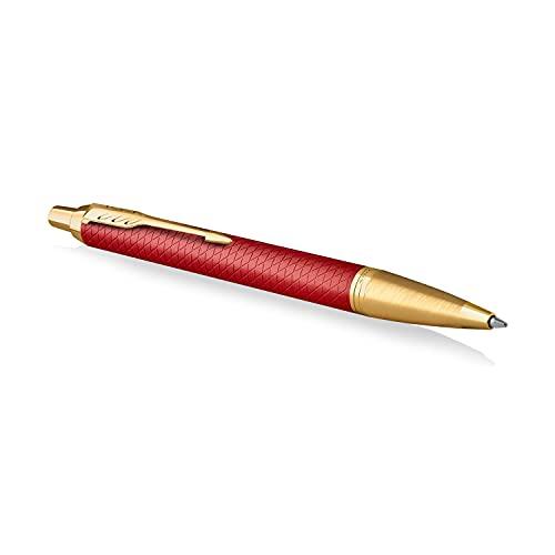 Parker IM bolígrafo | Lacado en rojo Premium con adornos dorados | Punta mediana con recambio de tinta azul | Estuche de regalo