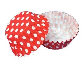 Demmler 200 Papier Pralinenförmchen Ø 2,6 cm Pralinen-Kapseln aus backfestem Papier, Rot-Weiß gepunktet (200 Stück)