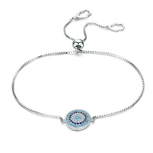 Wh1t3zZ1 Pulsera Mujer 925 Plata esterlina Azul Afortunado círculo Cadena Pulsera joyería Femenina Regalo de joyería