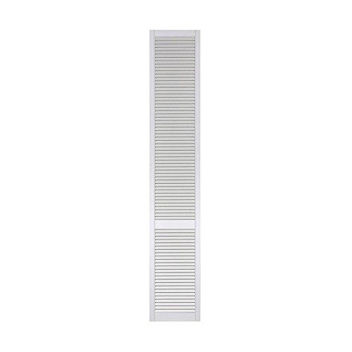 1-er Pack/Ein Stück Lamellentüren weiß seidenmatt mit offenen Lamellen Kiefernholz 2422 x 394 x 21 mm für Regale, Schränke, Möbel - EINBAUFERTIG grundiert & lackiert