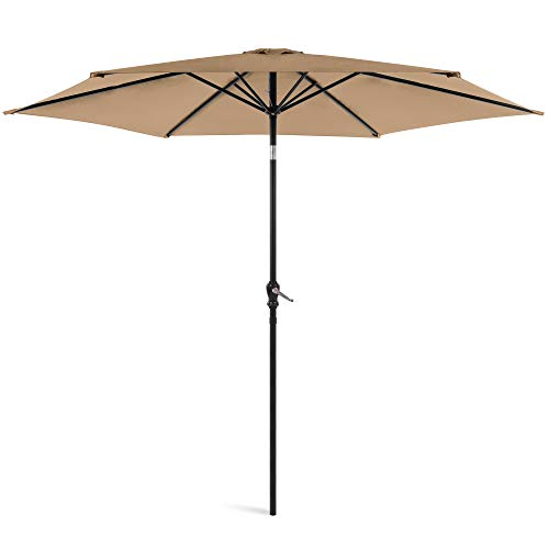 Best Choice Products 10ft Outdoor Steel Polyester Market Patio Umbrella w/Crank, Easy Push Button, Tilt, Table Compatible, Tan