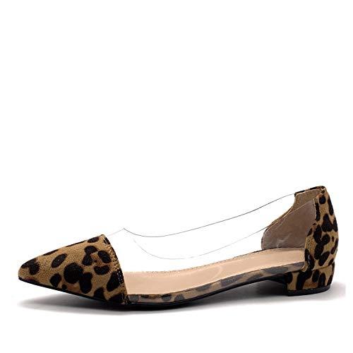 Angkorly - Damen Schuhe Ballerina - Lässig - bi-Material - Flache - transparent PVC Plexiglas Blockabsatz 2 cm - Leopard FB-89 T 38