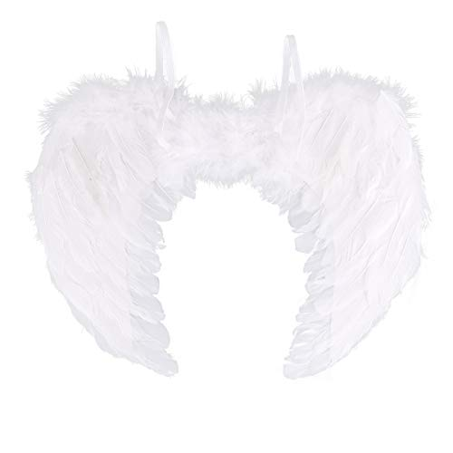 IEFIEL Alas de Plumas Verdad Angel Diablo Despedidas de Soltera Halloween Fiestas de Disfraces Adulto Grande/Pequeño Alas de Lujo (Blanco+Negro) Blanco E 45 * 35cm