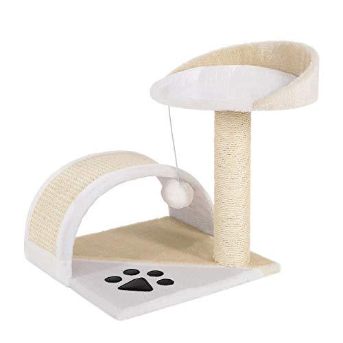dibea Tiragraffi per gatto albero tiragraffi gatto gioco giocattolo gatti Altezza 43 cm beige/bianco