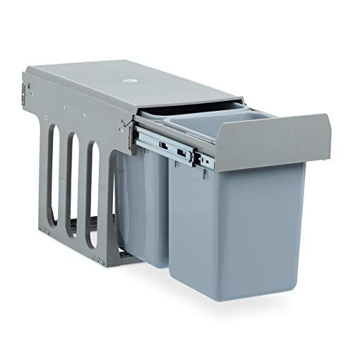 Relaxdays Einbaumülleimer Küche, Auszug, Duo je 8 Liter, Müllsystem Unterschrank, Kunststoff, HBT 35 x 25 x 47 cm, grau
