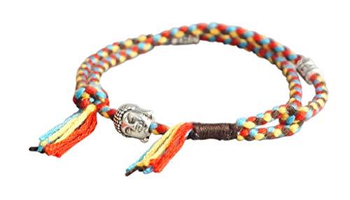 Lucky Buddhist Pulsera budistas tibetanas + Colgante/Collar! Para mujeres hombre adolescente. Tamaño ajustable para casi cualquier mano. Hecho a mano de cuerda - Buda Rojo azul amarillo marrón