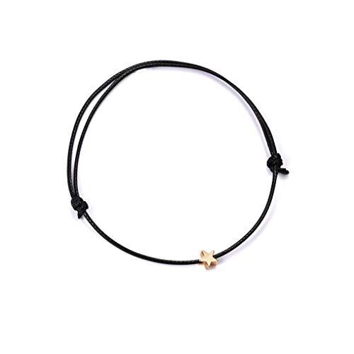 Cngstar Silver Golden Star Red String Bracelet for Women Men Adjustable Rope Braided Bracelet Mom Daughter Couple Gift (Black)