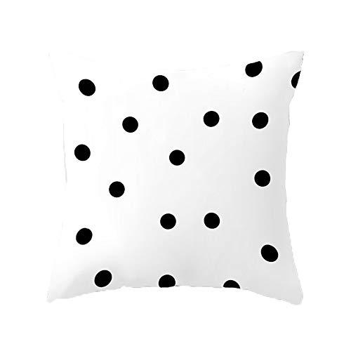 Maruis Kissenbezug Schwarz und Weiß gepunktet Kissenbezug Druck Quadratisch Kissen Kissen Sofa Kissenbezug Sets (weiß)