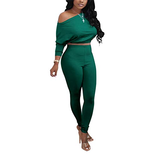 Womens Two Piece Tracksuit Set - Solid Long Sleeve One Shoulder Crop Tops & Elastic Skinny Pants Forest Green X-Large