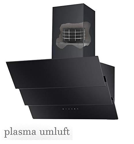 Vlano CELINE 600 Plasm Kopffreie Dunstabzugshaube PLASMA-Luft Reinigung Technologie weiß Glas 600 m³/h Abluftleistung 3 Leistungsstufen leise: unter 61 dB LED Touch - Steuerung (schwarz)