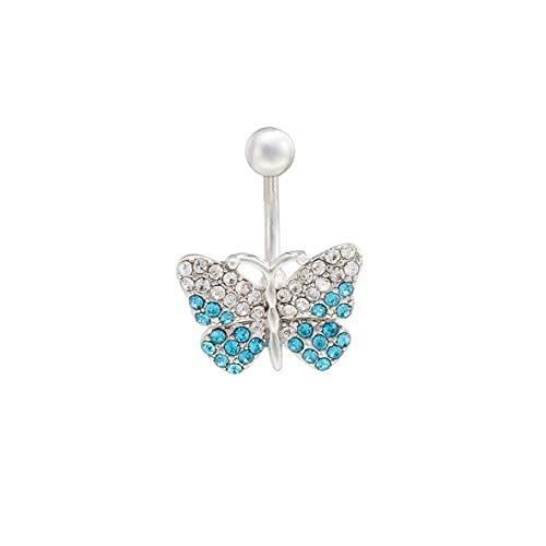 Buikpiercing chirurgisch staal zilver roestvrij staal navelpiercing vlinder hanger met strass-steentjes blauw buikdansaccessoire voor dames lengte en breedte 25 mm x 19 mm