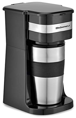 Elite Gourmet EHC111A Maxi-Matic Personal 14oz Single-Serve Compact Coffee Maker Brewer, Includes Stainless Steel Interior Thermal Travel Mug, Compatible with Coffee Grounds, Reusable Filter, Black