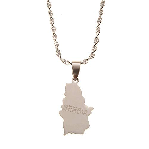 QAZQAZ Stainless Steel Serbia Map Pendant Necklaces for Women Girls Silver Color Srbija Jewelry Gifts Map Pendant Necklace,Men Women Gift