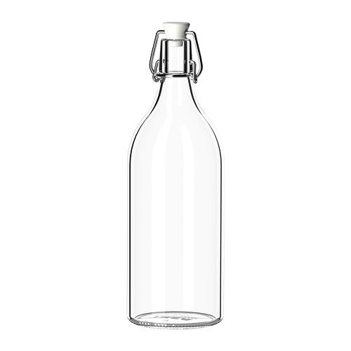 IKEA–botella con tapón KORKEN, cristal transparente