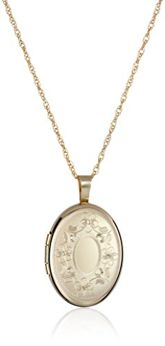 14k Gold-Filled with Floral Design and Center Signet Oval Hand Engraved Locket Necklace, 18