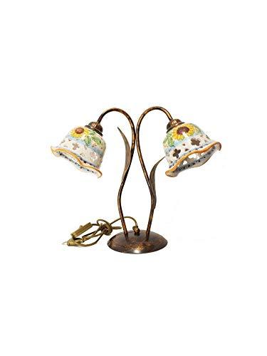 ILAB Lume Groß 2 flammig Kollektion Anita Keramik sicilianische Sonnenblume, Monta 2 Leuchtmittel E14 kleine Fassung max. 40 W, Breite 44 cm, Höhe 37 cm, Keramik mit Sonnenblumendekor