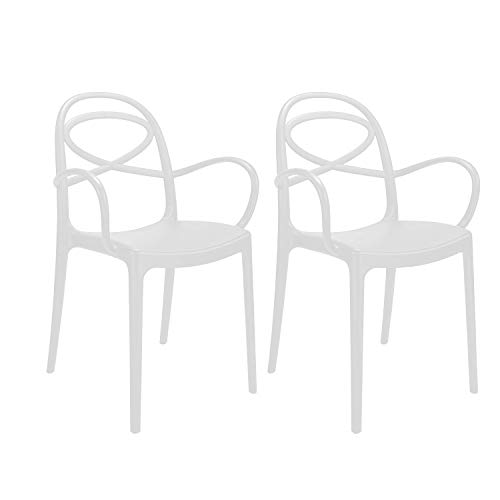 Totò Piccinni Sedie New Infinity, Moderne Design impilabile A85xL55xP52 (Bianco, 2)