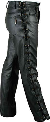 Fuente Schnürlederhose mit seitlich Schnürung- Biker Lederhose Herren Damen Bikerjeans -Schnür Lederjeans Motorrad Schnürjeans Schnürhose aus Rind Mild echt Leder Schwarz (52 EU)