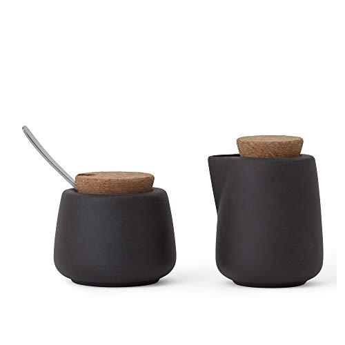 Sahne- und Zuckermilchkännchen-Set mit Löffel, Porzellan, Model Nicola, Grau Anthrazit