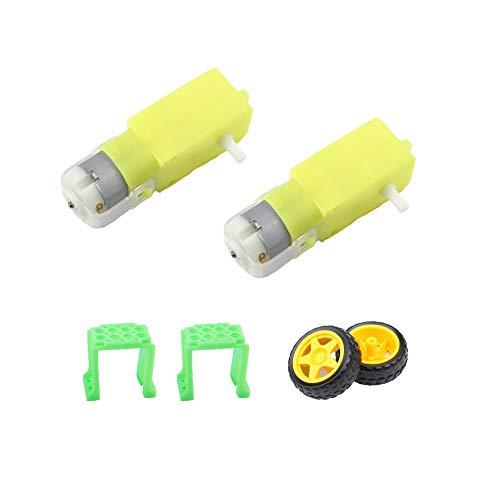 Juego de piezas de rueda de motor de CC de motor de engranajes CHANCS 1: 120 de eje único 2 uds 3-6V ruedas de goma pequeñas para vehículos robóticos principiantes de bricolaje