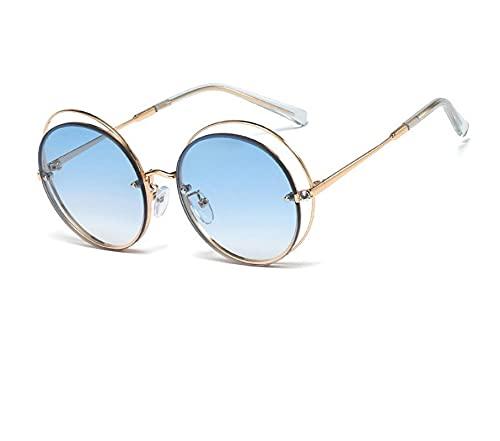 FENGHUAN Gafas de sol de cristal de lujo para mujer, gafas de sol con montura hueca circular de aleación, gafas de sol redondas de ojo de gato brillante elegante para mujer, azul dorado