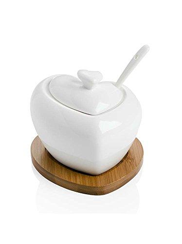 Brandani 54206 Zuccheriera tuttocuore con cucchiaino in porcellana bianca e supporto bamboo