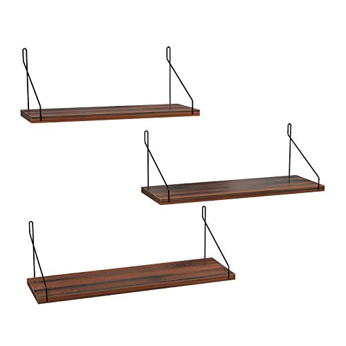 SONGMICS Set of 3 Wall Shelves, Metal Floating Shelves, Industrial Wall-Mounted Shelving for Decorations, Photos, Knickknacks, Multiple Layouts, 6 Screws Included for Mounting, Black ULFS12BK