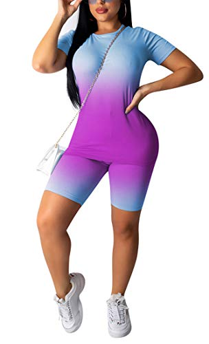 Aro Lora Womens 2 Piece Outfit Tracksuit Gradient Print T Shirt Shorts Set Jumpsuit Romper Casual Sport Medium Purple