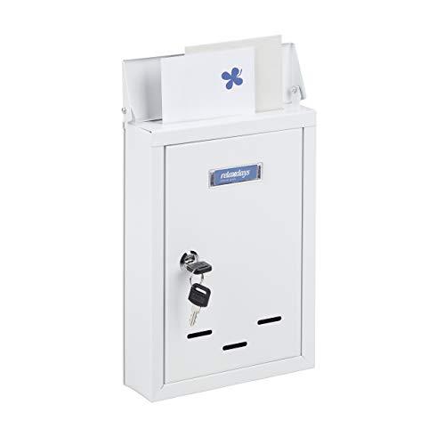 Relaxdays Briefkasten mit Namensschild, aus Metall, mit 2 Schlüsseln, Postkasten schmal, HxBxT: 30,5 x 21 x 7 cm, weiß
