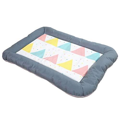 Cama para Mascotas Verano fresco transpirable perro gato mascota casa estera hielo seda material + Oxford tela perro cama engrosamiento cachorro gato sofá colchón Canasta para Mascotas ( Size : S )