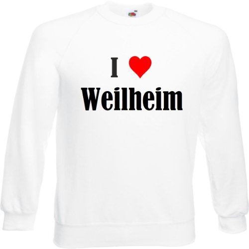 Reifen-Markt Sweatshirt I Love Weilheim Größe 2XL Farbe Weiss Druck Schwarz