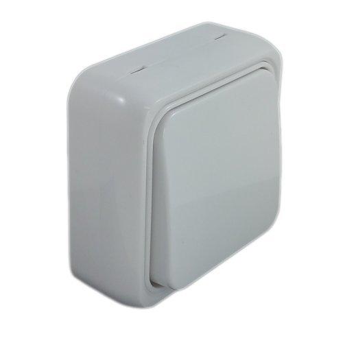 SPIN Slim 1-Fach Schalter, Modern Stilrichtung Weiss, Aufputzschalter, Feuerbeständige Kunststoff Isolierung