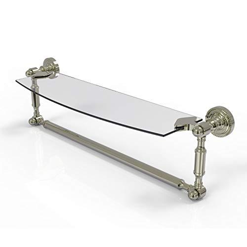 Allied Brass DT-33TB/18-PNI Glass Shelf with Towel Bar, 18-Inch x 5-Inch, Polished Nickel