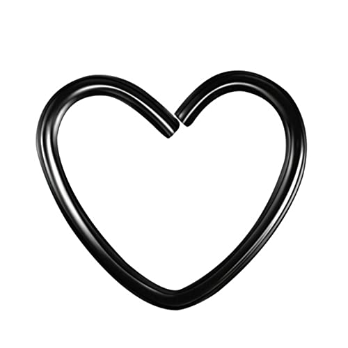 ZhenS Pendientes de Clip de corazón de Estrella de Acero Inoxidable a la Moda para Mujer Punk sin Piercing Pendiente de cartílago Falso 10 Piezas/Juego-Negro-Corazón