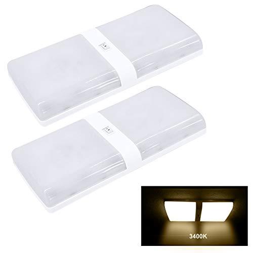 Facon 12V LED dôme lumière pour Camping-Car RV Camping-Car remorque lumière intérieure Nouveau Design Famille de Diamants Simple et Double (2Pack Double, 3400K Blanc Chaud)