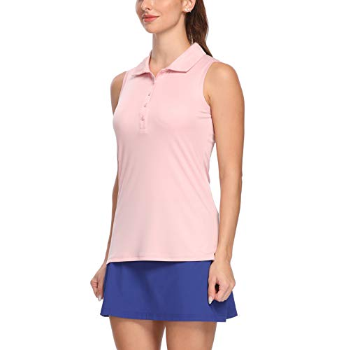 LastFor1 Women's Polo Sleeveless Shirts UPF 50+ Quick Dry Golf Tennis Athletic Tank Tops Outdoor Sports Light Pink M