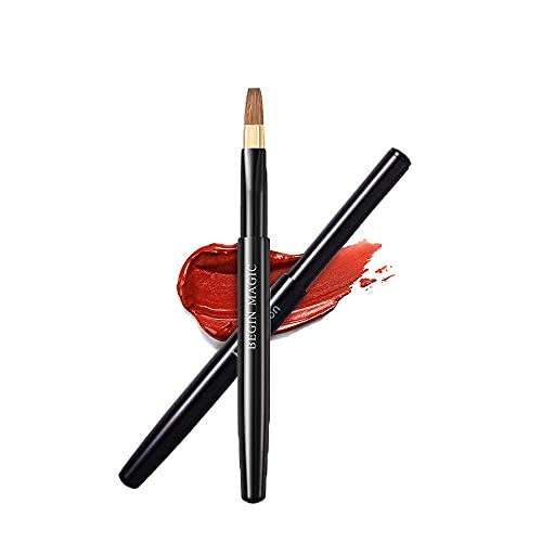 BEGIN MAGIC Einziehbarer Lippenpinsel, Lippenstift-Glanz-Make-up-Pinsel, Werkzeug Applikatoren mit Kappe, quadratischer Rand