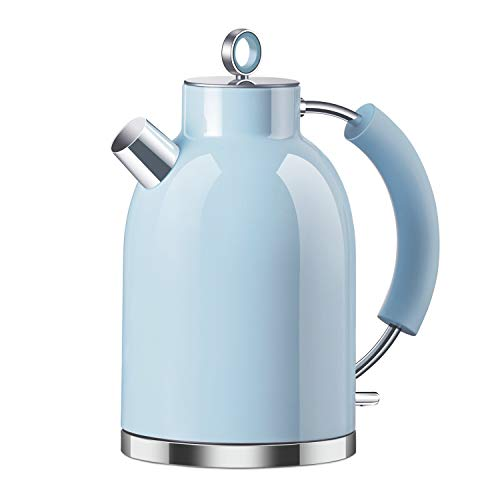 Wasserkocher Edelstahl, ASCOT Elektrischer Wasserkessel, 2200 W, 1,6 liter, Retro Design, kabelloser Teekocher, BPA frei, Trockengehschutz, automatische Abschaltung, (Blau)
