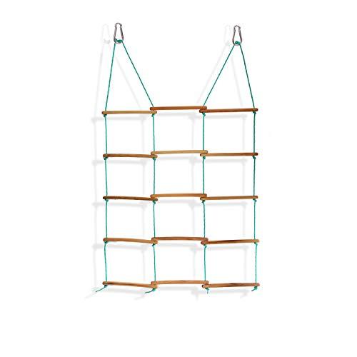 Spielturm, Dreiseitige Klettern Rahmen bis 60 kg, Spielhaus, Schaukel, Kinder Outdoor Kletterleiter mit 6 Sprossen, Klettergerüst, Indoor - Outdoor Strickleiter aus Holz, ab 3 Jahre