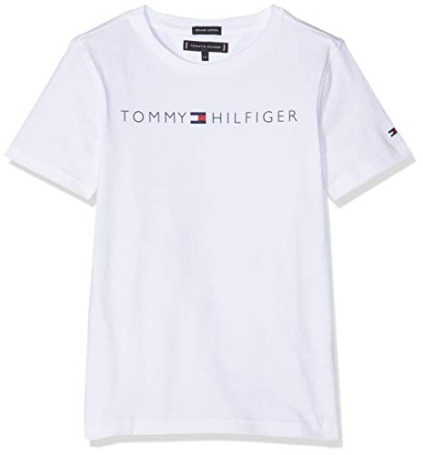 Tommy Hilfiger Essential Tommy Logo tee S/s Camiseta, Blanco (Bright White 123), 116 para Niños
