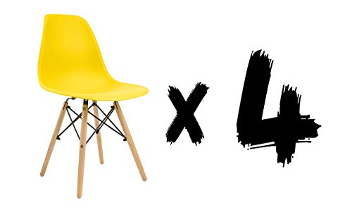 13Casa Scandi A6 Set met 4 stoelen, 50,5 x 46,5 x 83 cm, geel, polypropyleen