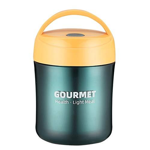 HUICHENG Boîte Repas Isotherme 500ML Boîte à Déjeuner Mini Lunch Pot Bol Muesli a Emporter Tasse de Céréales Coupe du Yaourt Pot de Collation Thermos Scellé Tasse de Bouillie Boîtes de Soupe(Jaune)